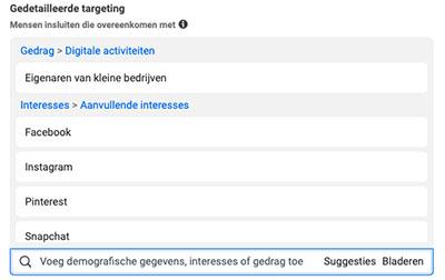 Facebook doelgroep intersesses gebruiken