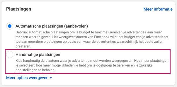 Facebook advertentie plaatsingen 1